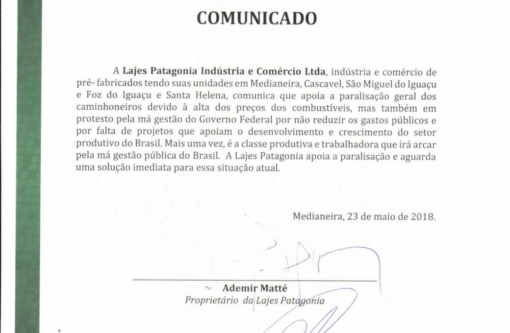 Comunicado Lajes Patagonia